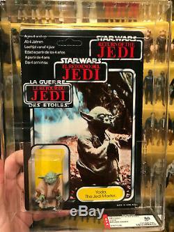 1983 Yoda Trilogo Afa 85 80 90 Star Wars Vintage Carded Tri Logo Unpunched Clear