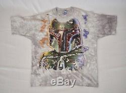 1997 Star Wars Liquid Blue Vintage Tie Dye T-Shirt X-Large, Boba Fett