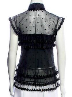 $3600 CHANEL Vintage 2004 Crochet Lace Black Blouse 34 36 38 2 4 6 Top Shirt S M
