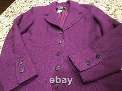 $4130 CHANEL TWEED 02A Vintage Logo 38 40 42 6 8 10 Dress Coat Jacket Top Blazer