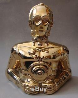 RARE Vintage STAR WARS C3PO Ceramic Coin Bank 20th Century Fox toy figurine