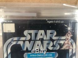 RARE Vintage Star Wars 12 Back-A Unpunched AFA 80 R2-D2 SKU on Figure Stand