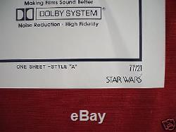 Star Wars 1977 Original Movie Poster Style A Vintage The Force Awakens Nm C9
