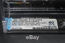 Star Wars Vintage Irish Bootleg 3 Pack (Dengar/Emperor/Bib Fortuna) AFA Q40