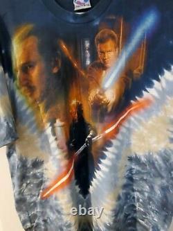 Vintage 1990s Liquid Blue Star Wars Episode 1 Darth Maul Tie-Dye T-Shirt XL