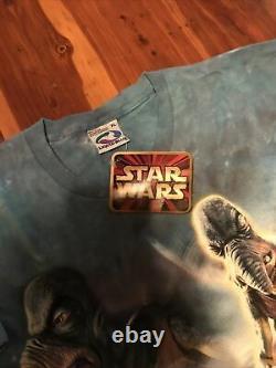 Vintage 90s Liquid Blue Star Wars Episode 1 Watto Tie Dye XL Shirt Rare