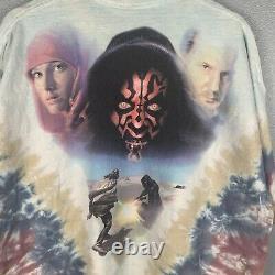 Vintage 90s Star Wars Phantom Menace Shirt Liquid Blue Anakin Darth Maul Sz XXL