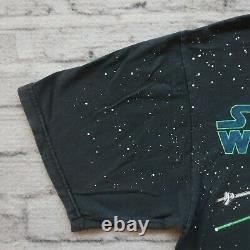 Vintage 90s Star Wars X-Wing Tie Fighter Shirt XL L Tshirt AOP All Over Print