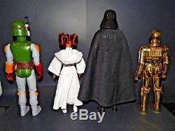 Vintage Star Wars 12 Inch Lot Darth Vader Boba Fett Princess Leia C-3PO
