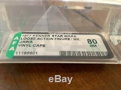 Vintage Star Wars 1977 Kenner Vinyl Cape Jawa Hk Action Figure Afa 80 Nm Cib