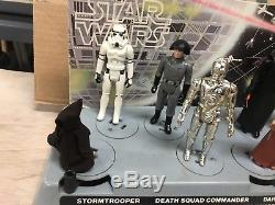 Vintage Star Wars 1977 early bird mail away display stand with figures