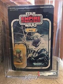 Vintage Star Wars 1980 AFA 75/85/85 YODA Dark Green Brown snake ESB Back MOC