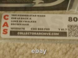 Vintage Star Wars 1981 Kenner CAS/AFA 80 LUKE SKYWALKER FARMBOY ESB back MOC