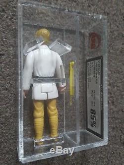 Vintage Star Wars Figure Luke Farmboy Brown Hair UKG 85% not AFA