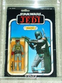 Vintage Star Wars KENNER 1983 AFA 80 BOBA FETT Tatooine ROTJ 77 back-A MOC