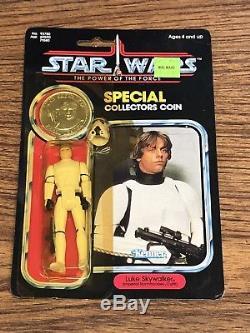 Vintage Star Wars POTF Coin Luke Skywalker Stormtrooper Outfit MOC New Hope
