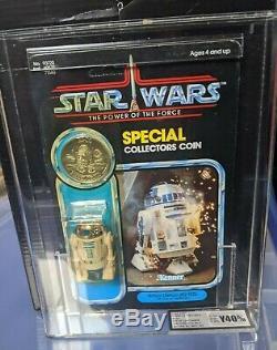 Vintage star wars r2-d2 pop up lightsabre 92a potf back ukg graded y-40
