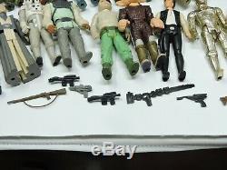 73 Vintage Kenner Star Wars Figure Lot Avec Darth Vader Étui De Transport, 17 Armes