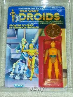 Carte Vintage Star Wars 1985 C-3po Afa 85/80/90 Rare Canadian Droids Dos Moc Unp