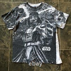 Hommes Vintage 90 De Star Wars Darth Vader Mega All Over Imprimer T-shirt T Sz XL