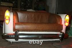 Main Vintage Car Sofa Leather Tufted Chesterfield Restoration Style Retro