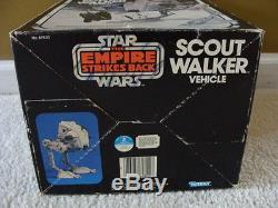 Marcheur Scout Vintage De Star Wars / Mib At-st Avec Coffret Complet Inséré Insert