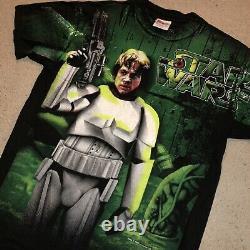 Rare Vintage Années 90 1996 Star Wars Luke Skywalker All Over Print Green Stormtrooper