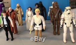 Star Wars Kenner Vintage Rare 1977 Complete Ensemble De 12 Figurines Vader, Leia, Han, Luke