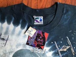 Star Wars T-shirt Sz XL Vintage Liquide Bleu Tye Dye 1997 Lucas Films Tn-o