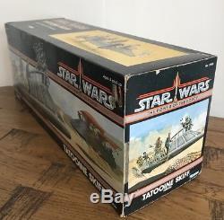 Star Wars Vintage Tatooine Skiff & Boîte D'origine + Ins & Intérieur Kenner 1984 Rare