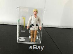 Vintage 1977 Kenner Star Wars Luke Skywalker Farmboy Afa 80+ Hk Blonde / Pantalon Noir
