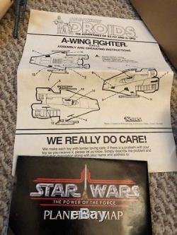 Vintage 1985 Droits A-wing De Star Wars Complet Avec La Boîte Et Les Insertions Originales