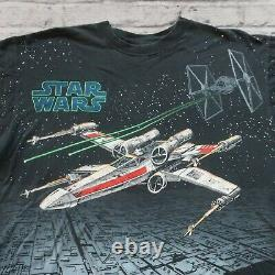 Vintage Années 90 Star Wars X-wing Tie Fighter Shirt XL L Tshirt Aop All Over Print