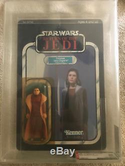 Vintage Carded Star Wars 1983 Rotj 77 Dos-a Princesse Leia Bespin Afa 85 Y-nm +