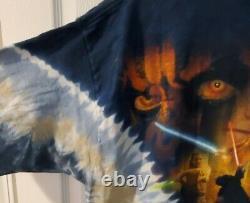 Vintage Des Années 1990 Liquid Blue Star Wars Episode 1 Darth Maul Tie-dye T-shirt XL