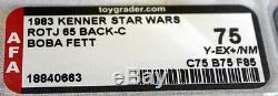 Vintage Kenner Star Wars Rotj Boba Fett 65 Retour-c Afa 75 Y-ex + / Nm # 18840663