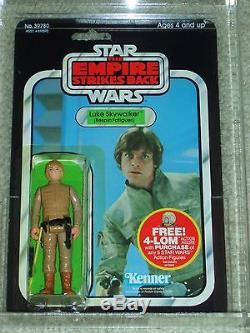 Vintage Star Wars 1980 Afa 80 Luke Skywalker Bespin Cheveux Bruns Esb Dos De La Carte Moc