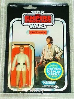 Vintage Star Wars 1981 Kenner Cas / Afa 80 Luke Skywalker Farkeboy Esb Back Moc