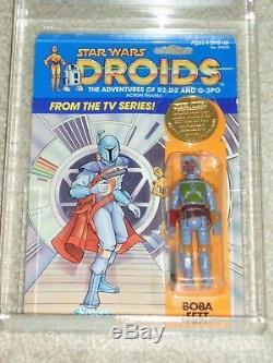 Vintage Star Wars 1985 Boba Fett Droids Cas / Afa 70 Carte Kenner Retour Moc Clr Bub
