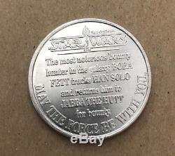 Vintage Star Wars 1985 Courrier Loin Potf Rare Bobba Fett Bounty Hunter Token Coin
