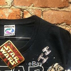 Vintage Star Wars 1990 Dye Tye Tous Shirt Impression Bleu Liquide Dark Nwt Tag