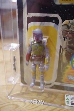 Vintage Star Wars Boba Fett Cas Classé Pas Afa Ukg Figure Et Carte Originale
