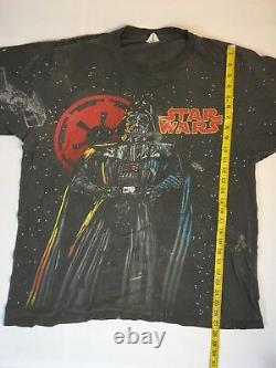 Vintage Star Wars Dark Vador T Shirt All Over Print Rare Vtg XL