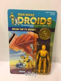 Vintage Star Wars Droids Dessin Animé C-3po Voir-troispio Figure Carte Kenner Rare