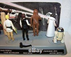 Vintage Star Wars Kenner 1977 Vintage Mail-away Display Stand & 12 Chiffres 1er
