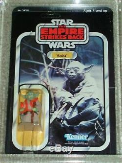Vintage Star Wars Kenner 1980 Afa / Cas 80+ Yoda Orange Snake Esb 32 Arrière-b Moc