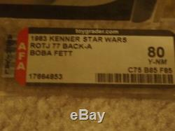 Vintage Star Wars Kenner 1983 Afa 80 Boba Fett Tatooine Rotj 77 En Arrière