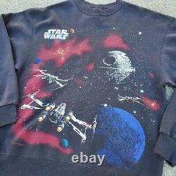 Vintage Star Wars Retour Du Jedi Crewneck (taille Large) Endor/ Death Star