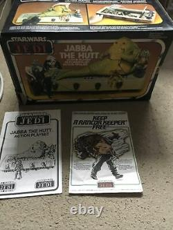 Vintage Wars Étoiles Jabba Trône Playset Y Compris La Boîte Bib Fortuna