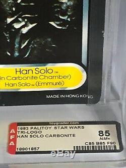 Vintage Wars Étoiles Rotj Trilogo Dernière 17 Han Carbonite Afa 85 (85/85/90) Moc Up